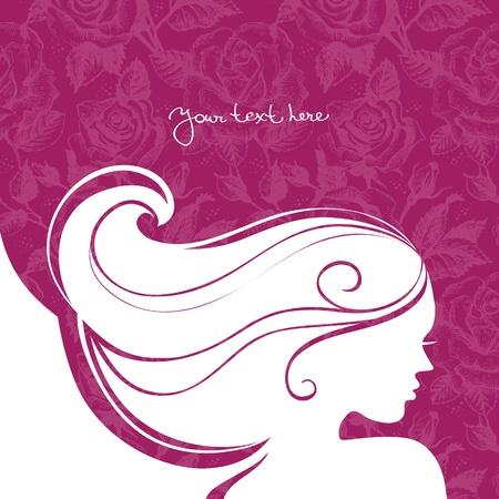 人間の髪の毛: 美しい少女のシルエットを背景  イラスト・ベクター素材