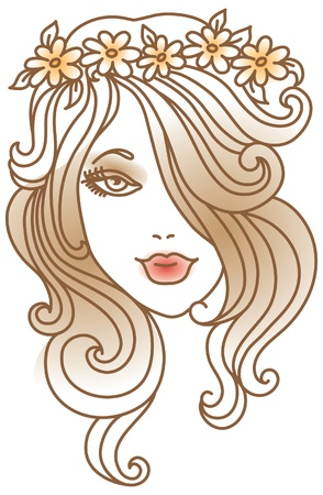 brown hair: Beautiful woman with flower, linear illustration Illustration