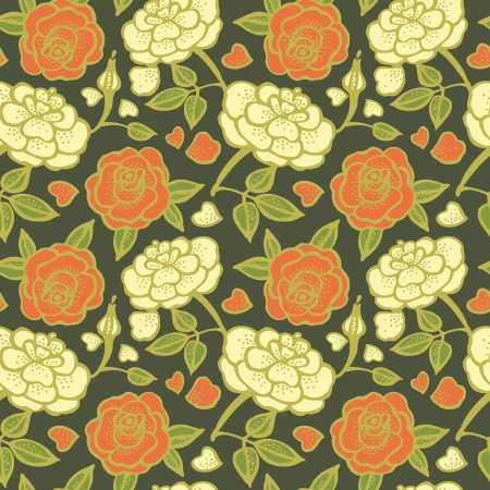 Seamless floral pattern with roses Stock Vector - 15907404