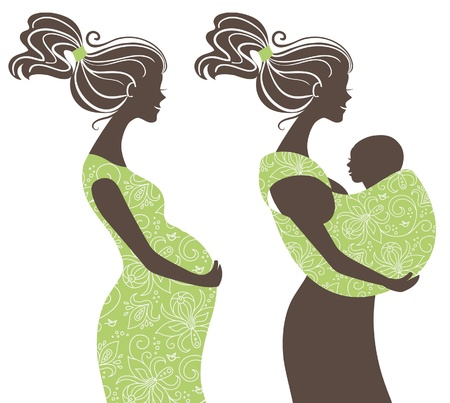 baby with mama:  Beautiful women silhouettes  Pregnant woman and mother with baby in a sling