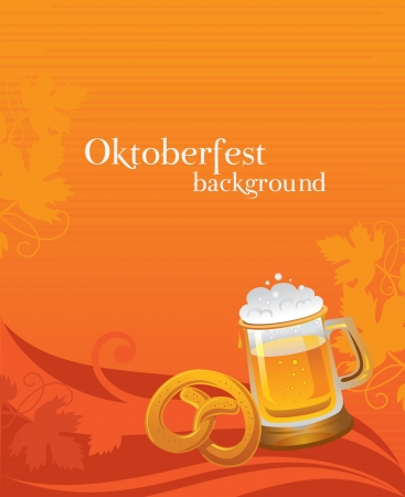 german beer: Oktoberfest background with beer and pretzel