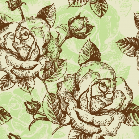 outline flower: Seamless floral pattern with roses