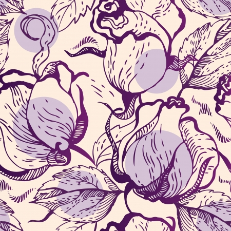 Seamless floral pattern with roses Stock Vector - 15907214