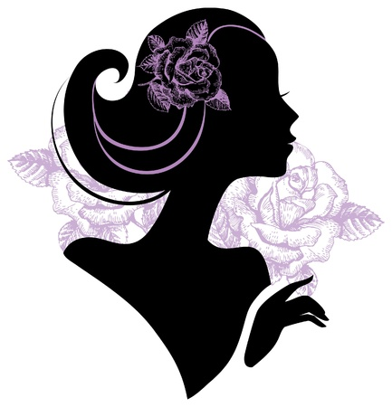 glamour model: Beautiful woman silhouette with a flowers  Illustration