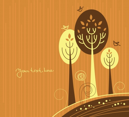 Autumn cartoon background with trees and birds  Vector