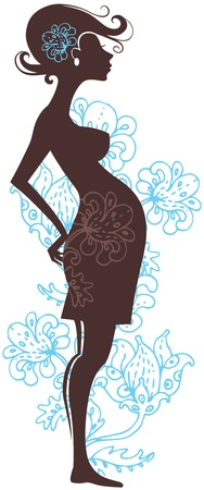 Silhouette of pregnant woman in flowers Stock Vector - 15907130