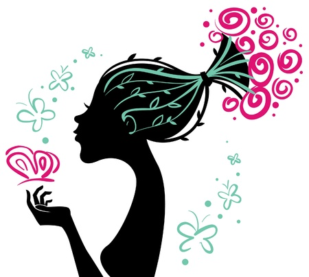 head dress: Beautiful woman silhouette with flowers and butterfly