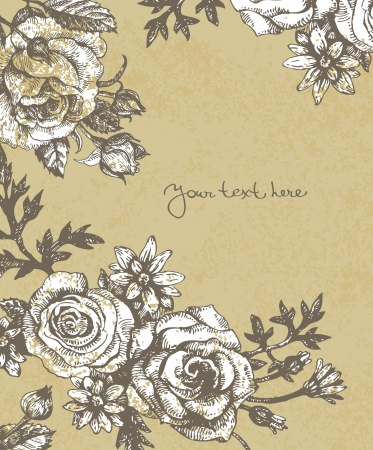 plant hand: Floral background with roses