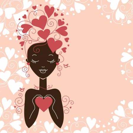Girl silhouette with hearts Stock Vector - 15907149