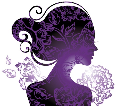 woman: Beautiful woman silhouette with a flowers  Illustration