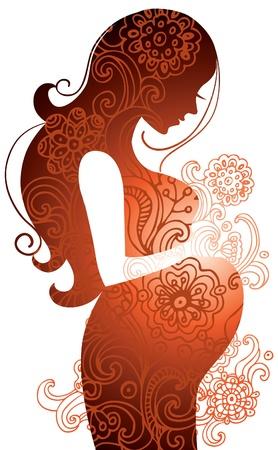 животик: Силуэт беременной женщины Иллюстрация