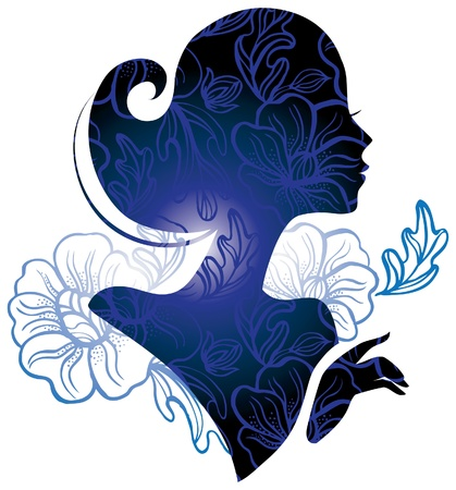 abstract portrait: Beautiful woman silhouette with a flowers