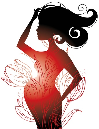Silhouette of pregnant woman  Stock Vector - 15907142