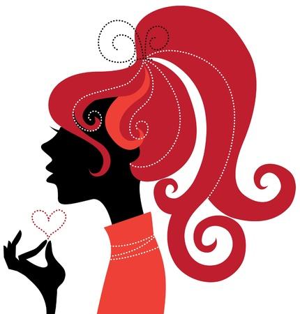 red head girl: Beautiful girl silhouette profile