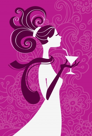 Beautiful woman silhouette with a glass in a hand  Vector