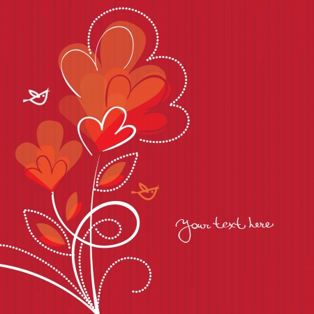 white tulip: Cartoon background with abstract hearts  Illustration