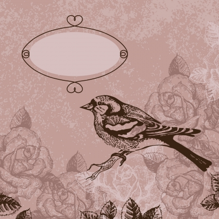 french style: Floral background with bird