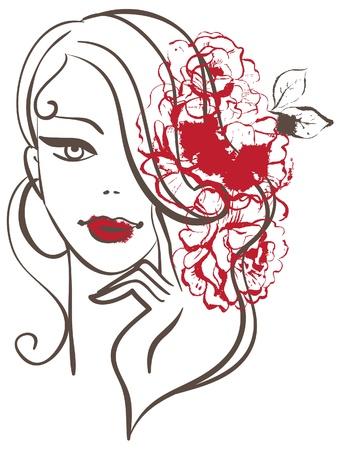 Bella donna, silhouette, con fiori
