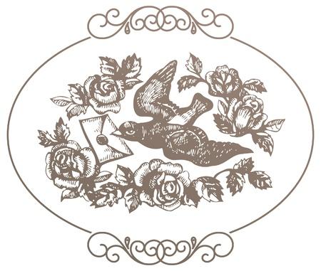 paloma caricatura: Pájaro con carta de amor y flores Vectores