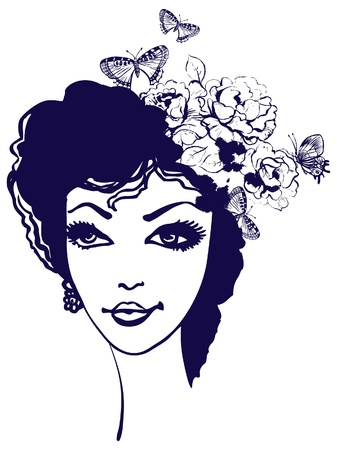 Beautiful woman silhouette with flowers and butterfly in her hair Vector