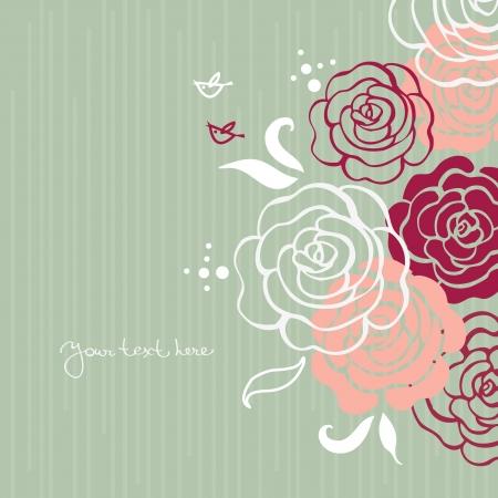 rose: Fundo floral com p�ssaros dos desenhos animados