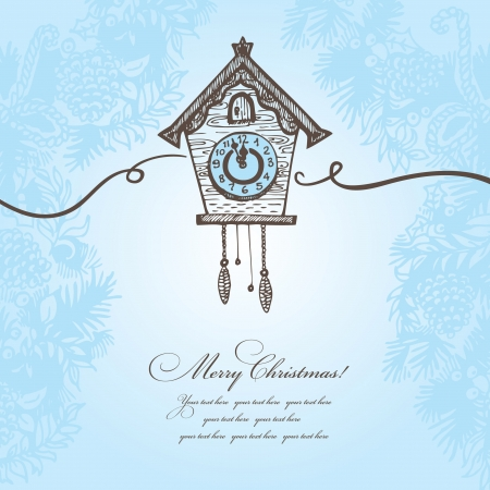 Hand drawn Christmas background with cuckoo-clock Vector