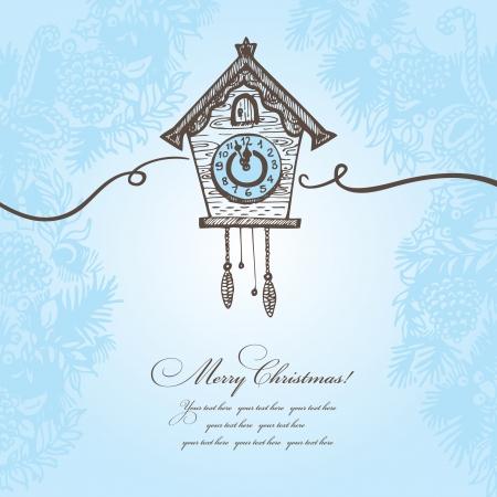 Dibujado a mano fondo de Navidad con reloj de cuco