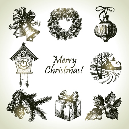 Hand drawn christmas set Stock Vector - 16200767