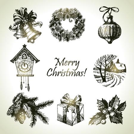 Hand drawn christmas set Stock Vector - 16200767