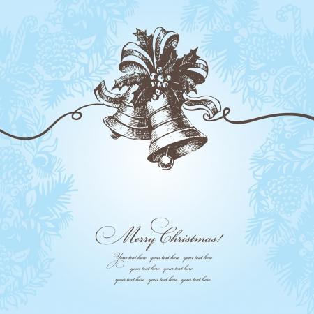 campanas de navidad: Dibujado a mano fondo de Navidad con campana