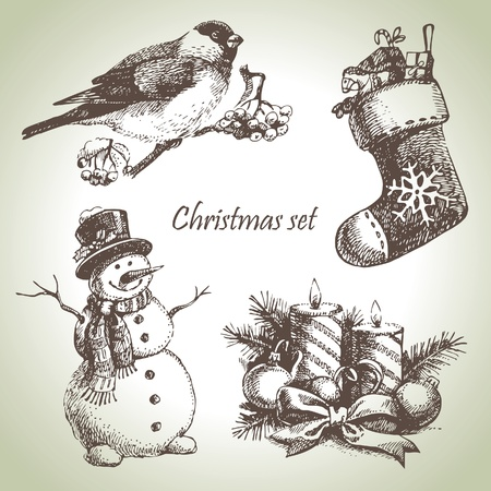 the snowman: Hand drawn christmas set Illustration