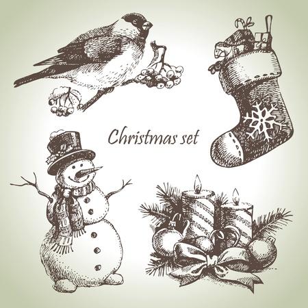 bonhomme de neige: Main dessinée de Noël ensemble