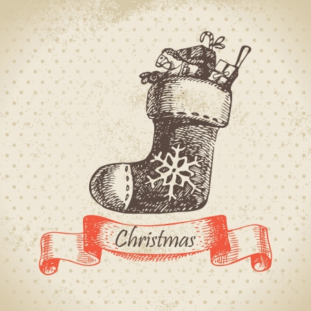 christmas sock: Natale calza. Mano disegnato illustrazione Vettoriali