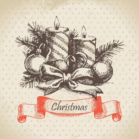 Christmas candle. Hand drawn illustration Vector