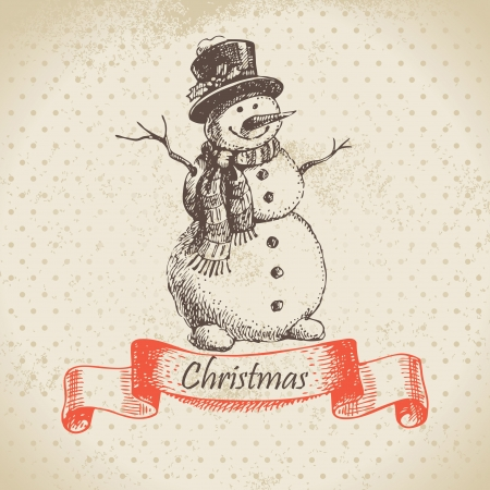 Christmas snowman. Hand drawn illustration Vector