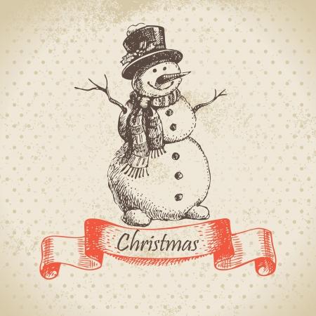 christmas retro: Christmas snowman. Hand drawn illustration Illustration