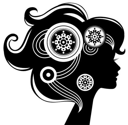 Beautiful woman silhouette Stock Vector - 16201093