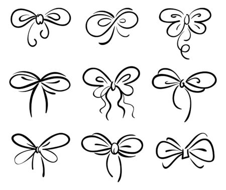 secret love: Set of bow Illustration
