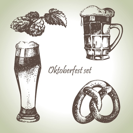 fest: Oktoberfest set of beer, hops and pretzel. Hand drawn illustrations