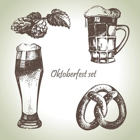 bier festival: Oktoberfest set of beer, hops and pretzel. Hand drawn illustrations