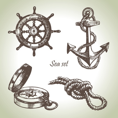 Sea set of nautical design elements. Hand drawn illustrations Illustration