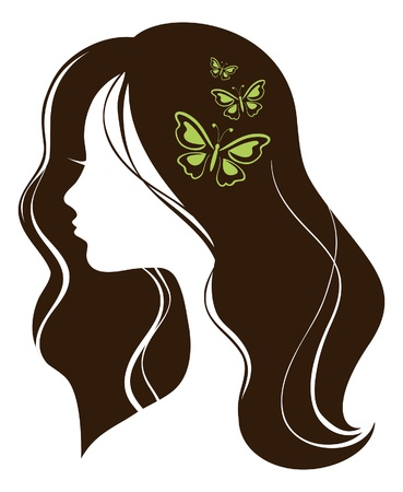 stylized: Beautiful girl with butterflies
