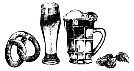 Oktoberfest set of beer, hops and pretzel. Hand drawn illustrations Vector