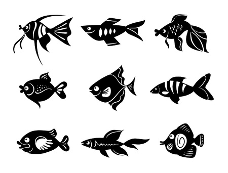 Fishes icon set Vector
