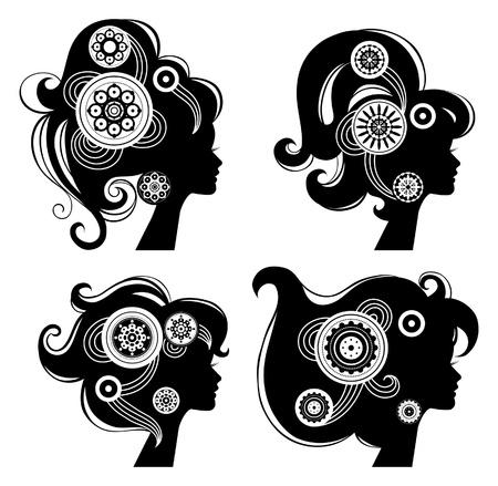 style: Beautiful women silhouettes
