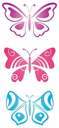 mariposas volando: Conjunto de mariposas Vectores