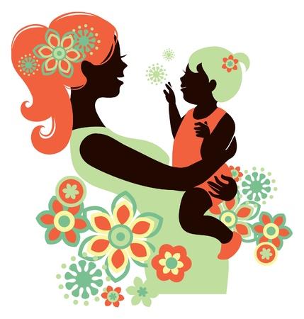 Mooie moeder silhouet met baby Vector Illustratie