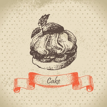 Cake. Hand drawn illustration Vector