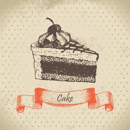 Cake. Hand drawn illustration Vector