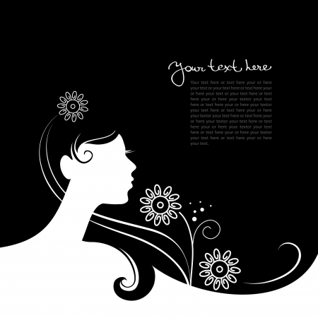 woman profile face: Background with beautiful girl silhouette  Illustration